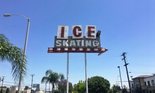 Ice skating sign